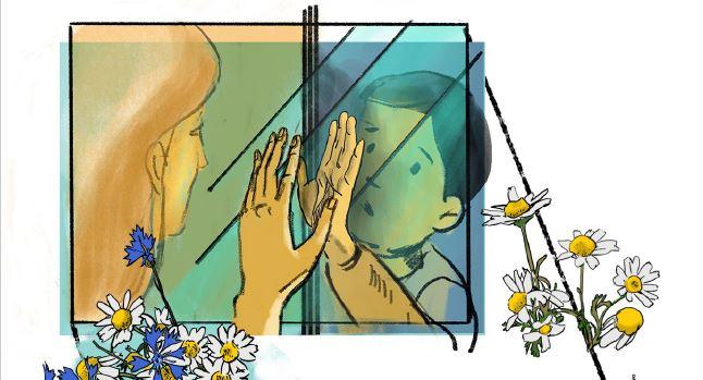 [Translate to gal:] Ilutración q muestra un niño y su madre separados por un cristal
